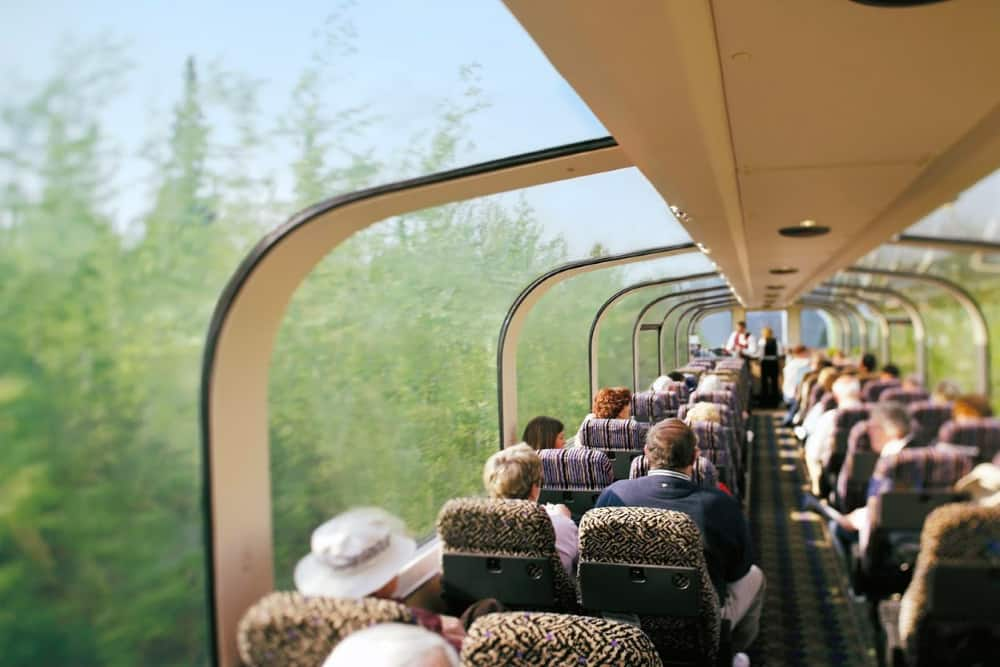 The McKinley Explorer luxury domed railcars offer stunning panoramic views.