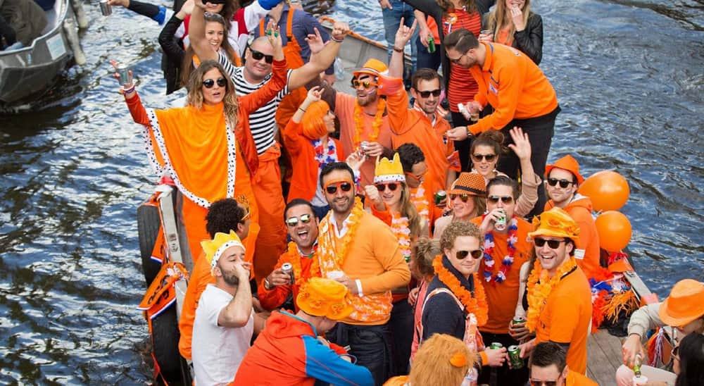 King's Day celebrations from years past in the Netherlands, from Holland.com.