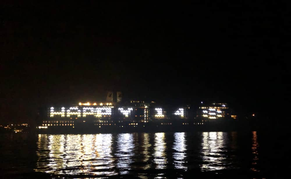 Eurodam lights up the night to celebrate our 148th Anniversary.