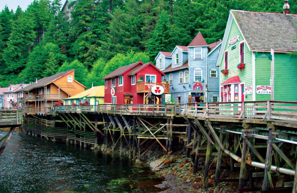 AWERHD The colorful historic buildings of Creek Street in a cruise ship port of call, Ketchikan, Alaska, USA..