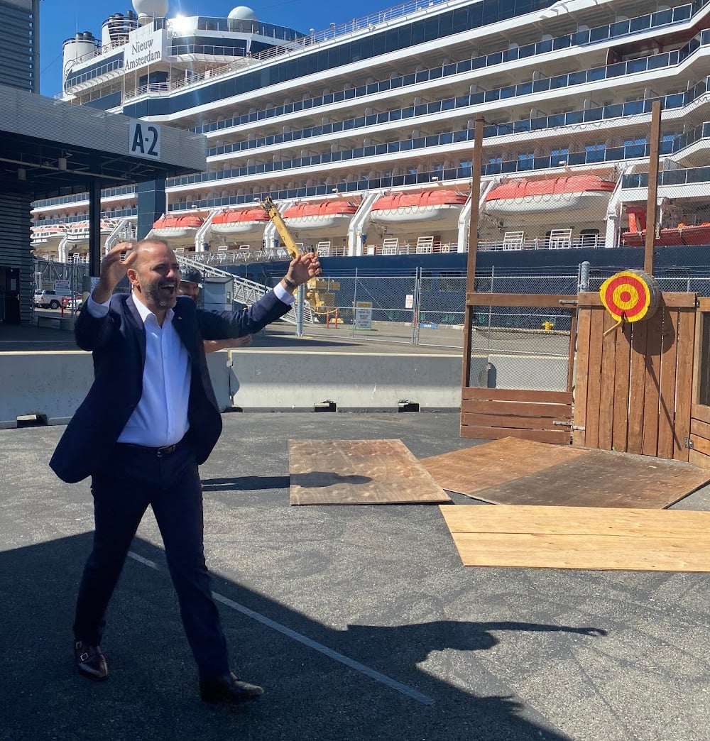 Holland America Line President Gus Antorcha was elated when he had a successful throw.