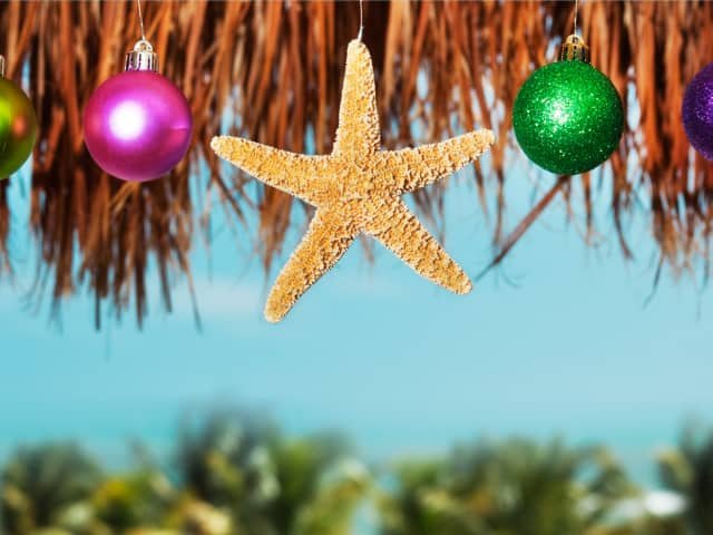 Christmas ornaments and a starfish hung by the beach while on a Holland America Line Holiday Cruise
