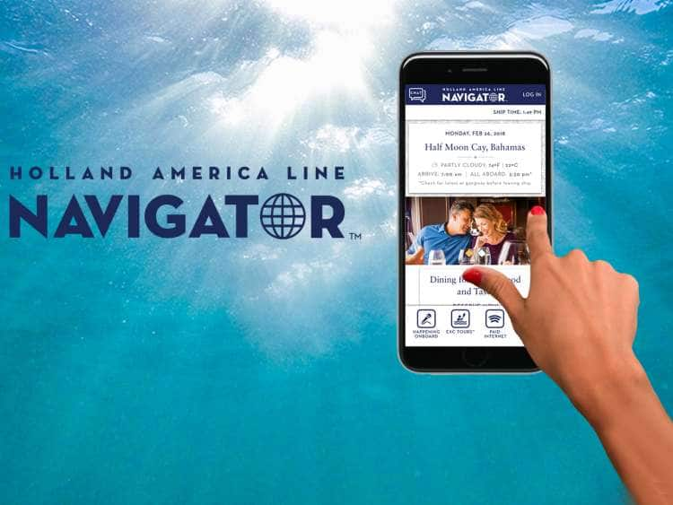Holland America Line Navigator with phone screen of app.