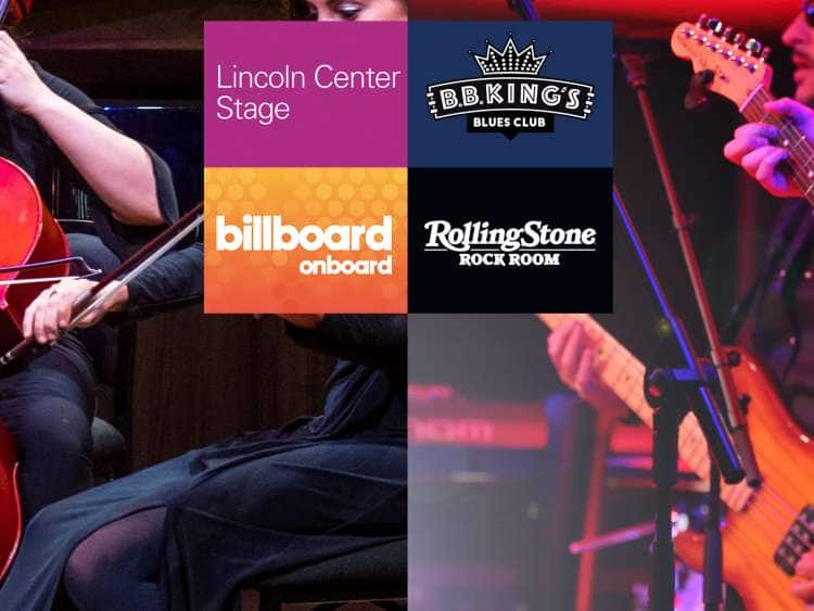 Live musicians behind logos of Lincoln Center Stage, Rolling Stone Rock Room, Billboard Onboard, and B.B. King's Blues Club