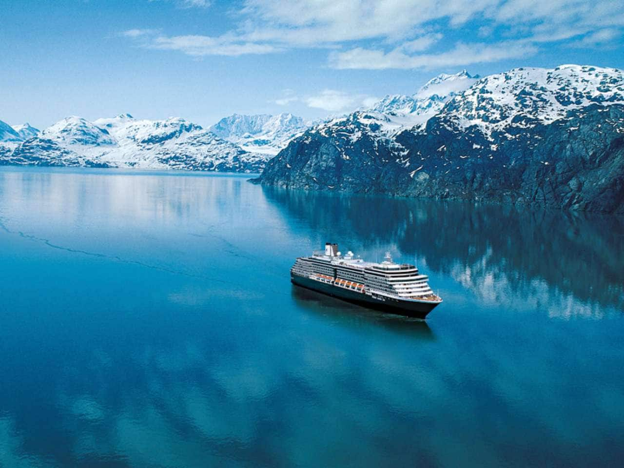 MS Eurodam cruises past Glacier Bay on an Alaska cruise