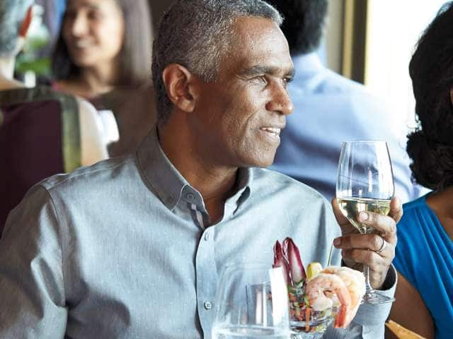 Couple dining at pinnacle grill on Alaska cruise