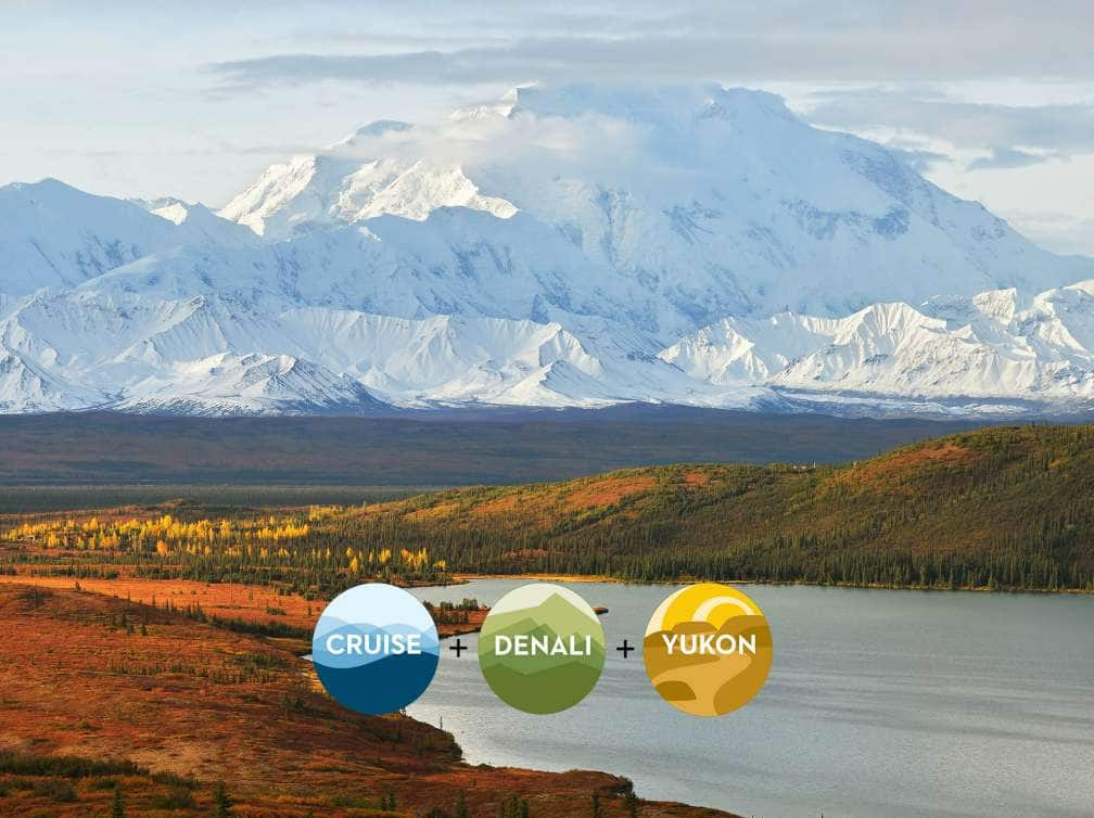 View of snow-covered Denali mountain behind a tundra plain and river on an Alaska cruise