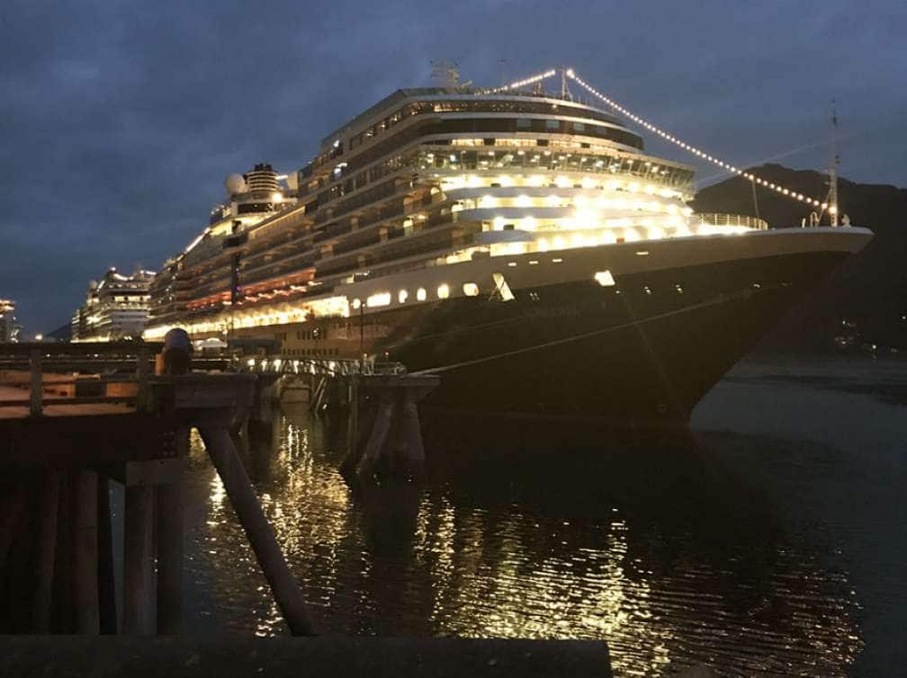 Holland America Line ship Eurodam in port at night on an Alaska cruise