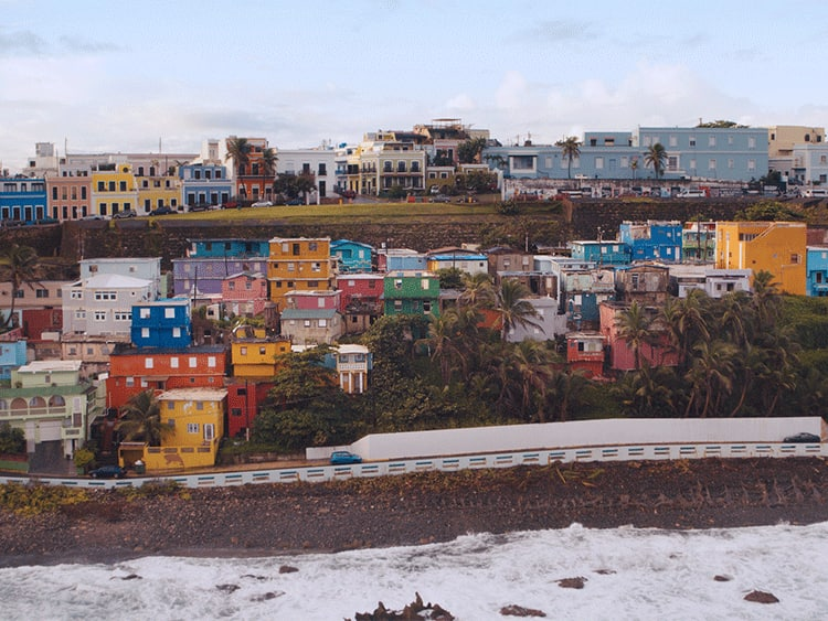 View of colorful homes in San Juan, Puerto Rico while on a Caribbean cruise