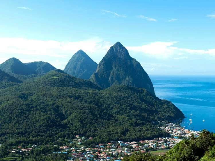Aerial view of Castries, St. Lucia on a Caribbean cruise.