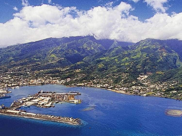 Aerial view of Papeete, French Polynesia on a Tahiti cruise