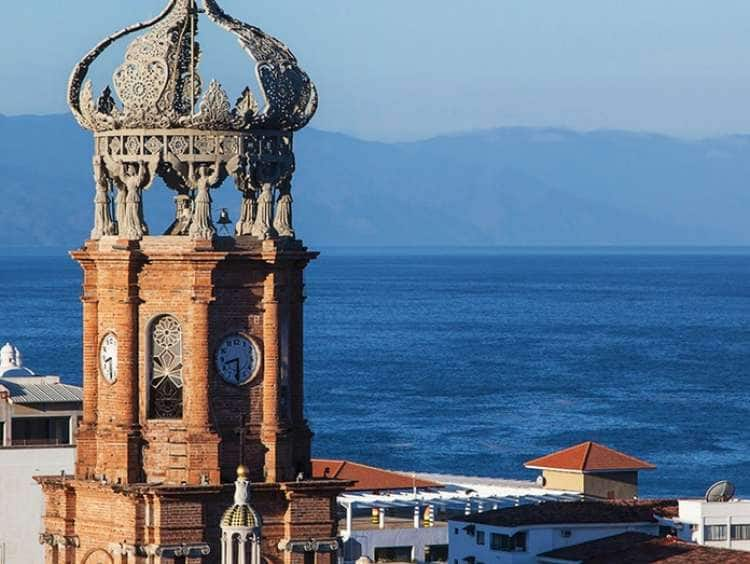 View of a clock tower building seen on a Holland America Puerto Vallarta cruise.