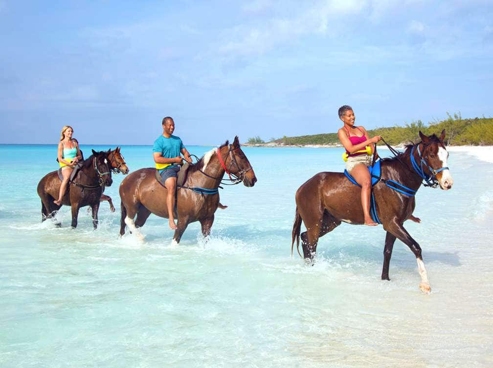 Three people riding horses along the shore