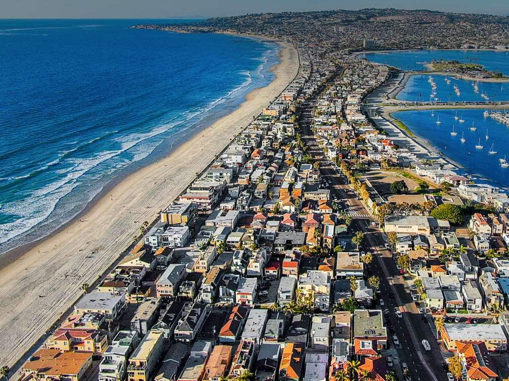 aerial view of the San Diego's beachfront in California