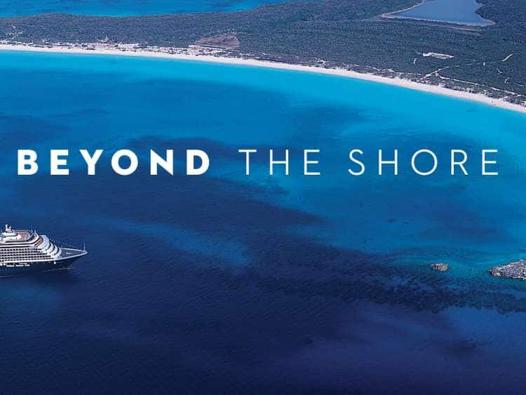 Beyond the Shore. Half Moon Cay island and cruise ship.
