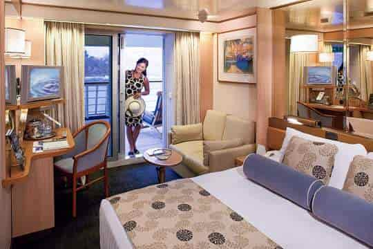 Lanai stateroom with queen bed configuration