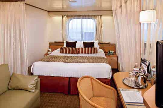 Ocean View stateroom with queen bed configuration