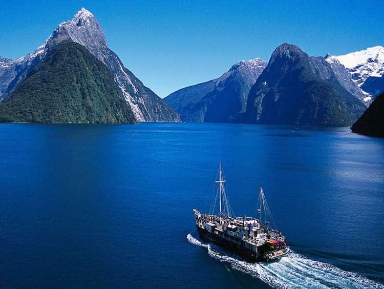 Ariel view of Milford Sound, New Zealand seen on Holland America New Zealand cruises