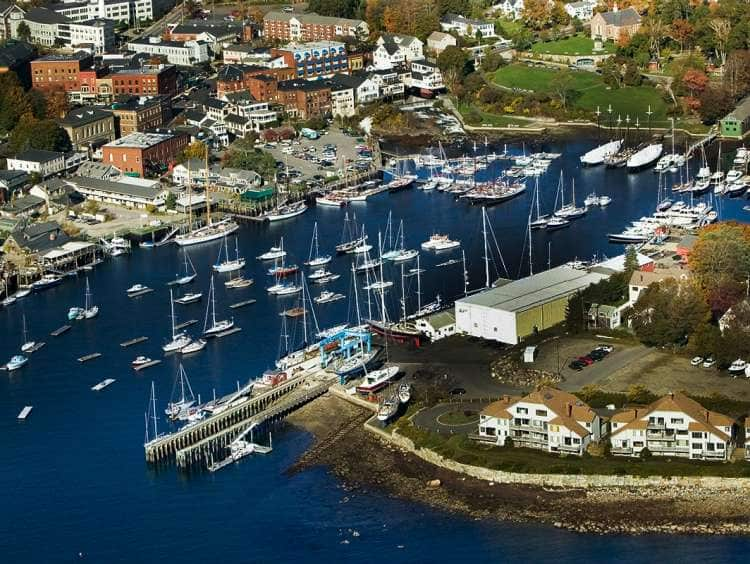 Aerial view of the marina in Bar Harbor, Maine on a Holland America Line Bar Harbor cruise.