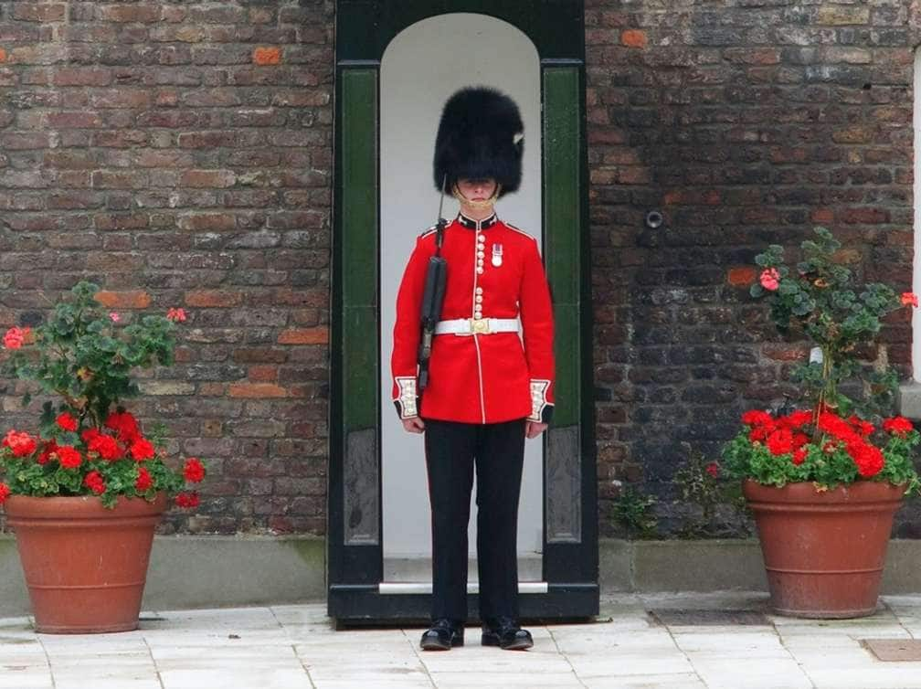a guard stands at his post in London, England