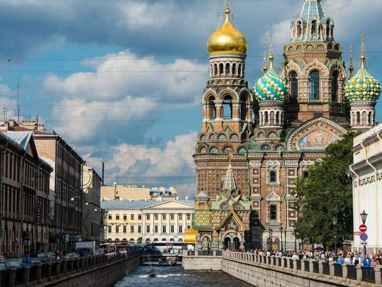 A view of city of St. Petersburg Russia and the outside of the Church of the Savior on an Baltic cruise excursion