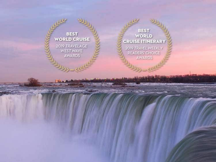 image of victoria falls with two awards overlay reads 'best world cruise, 2019 TravelAge West, Wave Awards' and 'best world cruise itinerary, 2019 Travel Weekly, Readers' Choice Awards'