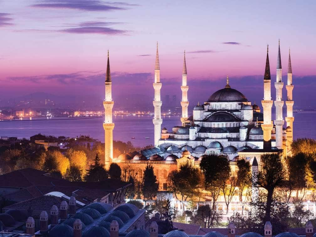 the blue mosque viewed at sunset in istanbul, turkey