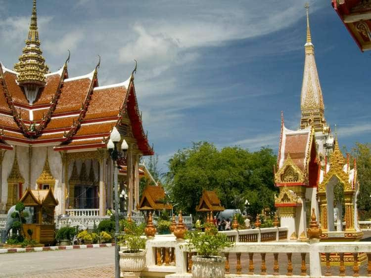 View of a historic temple in Phuket, Thailand seen on a world cruise