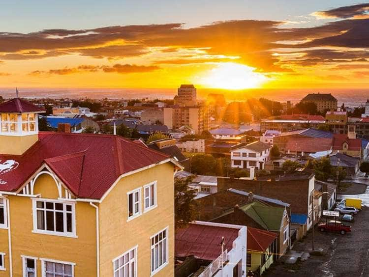 A sunset view of the town of Punta Arenas, Chile on a South America cruise