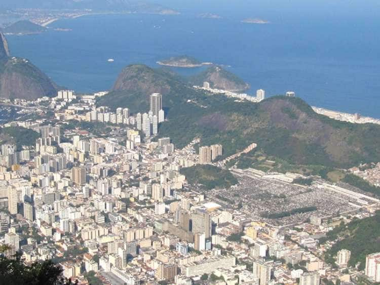 An aerial view of Rio De Janeiro, Brazil while from a cruise to South America