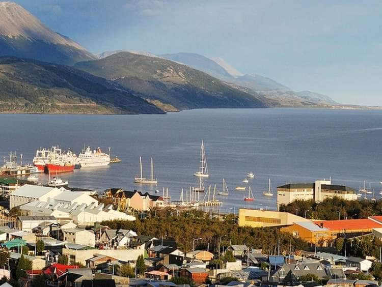 A view of Ushuaia, Argentina the Southern most tip of South America while on a South America cruise