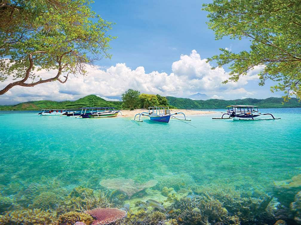 Small boats on Lombok Island, Indonesia on an Asia Pacific Cruise deal