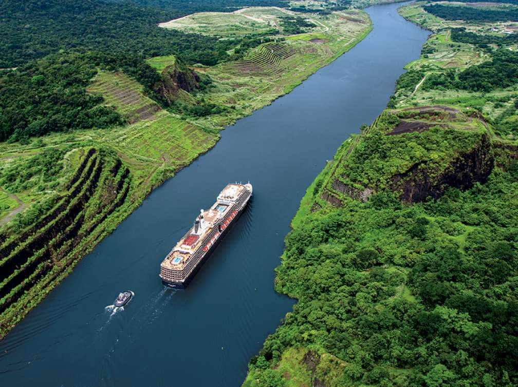 Aerial view of the Nieuw Amsterdam going through the Panama Canal experienced as part of the Panama Canal cruise deal
