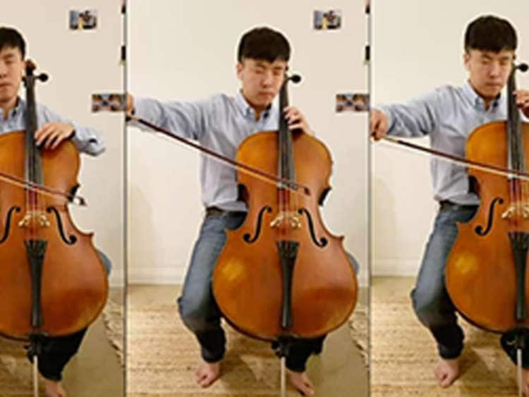 Cellist Qiele Guo performs from home