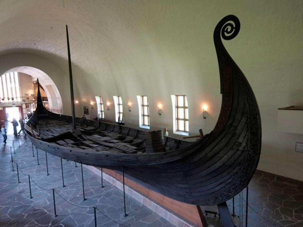 Picture of a historic Viking boat seen while on an 7-day Voyage of the Vikings transatlantic cruise