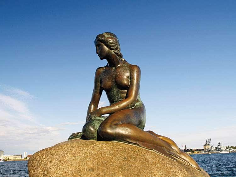 View of a statue near the Copenhagen, Denmark harbor seen on a Holland America cruise to Northern Europe