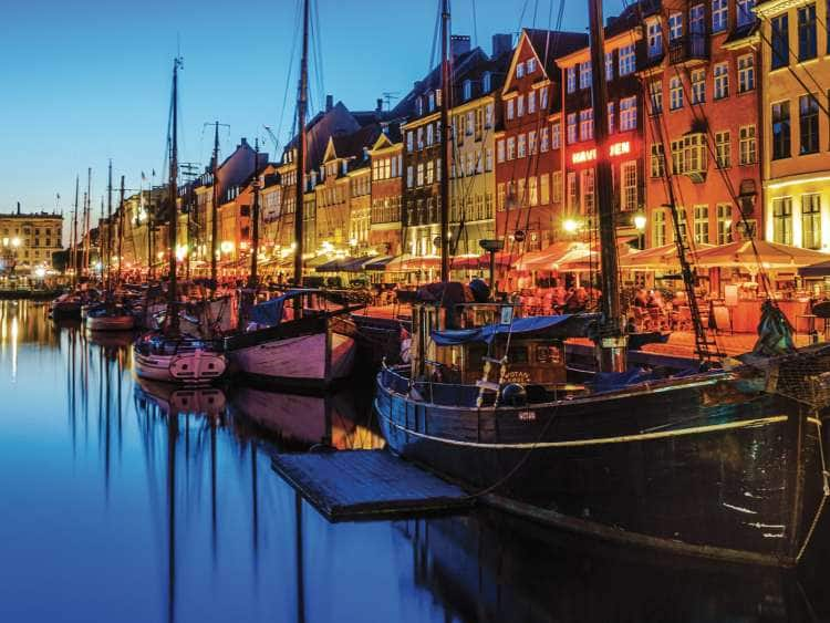 Picture of boats docked in Copenhagen Denmark on a Northern Europe cruise