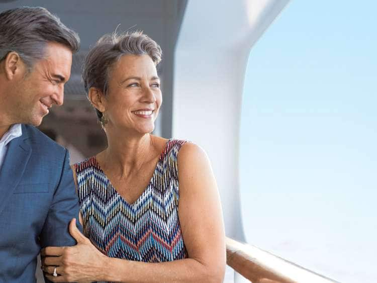 A picture of a couple enjoying their transatlantic Europe cruise