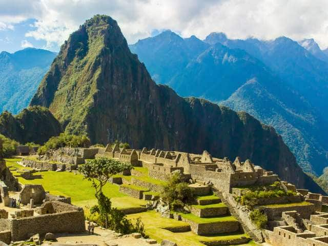 Aerial view of Macchu Picchu seen on an overland tour during a South America cruise