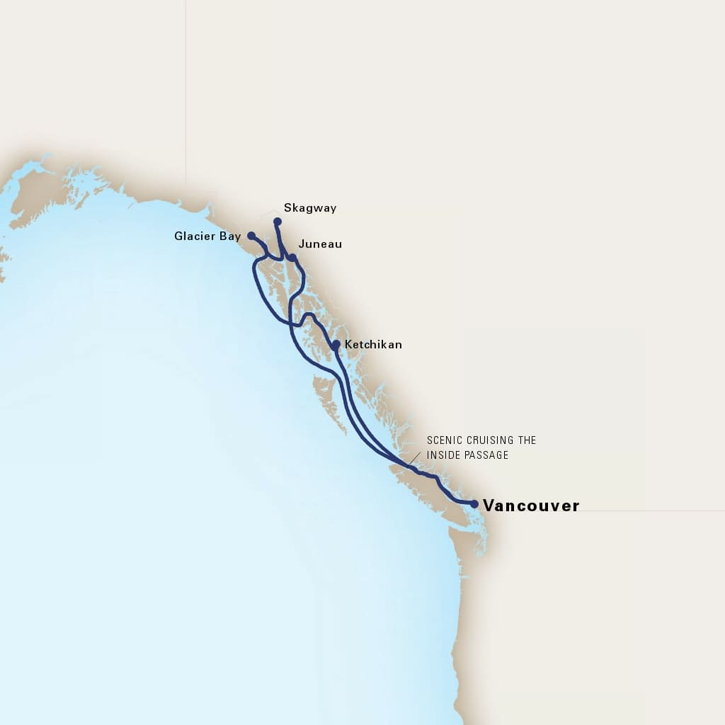 Map depicting the 7-day alaskan inside passage itinerary leaving from vancouver, b.c., ca and arriving in vancouver, b.c., ca.