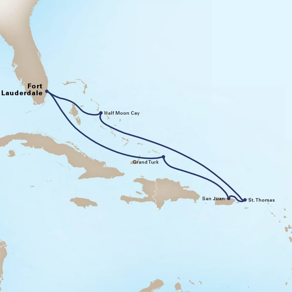 Map depicting the 7-day eastern caribbean itinerary leaving from fort lauderdale, florida, us and arriving in fort lauderdale, florida, us.