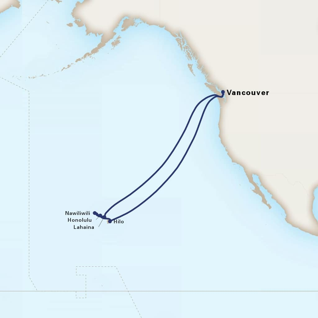 Map depicting the 16-Day Circle Hawaii itinerary leaving from Vancouver, B.C., CA and arriving in Vancouver, B.C., CA.