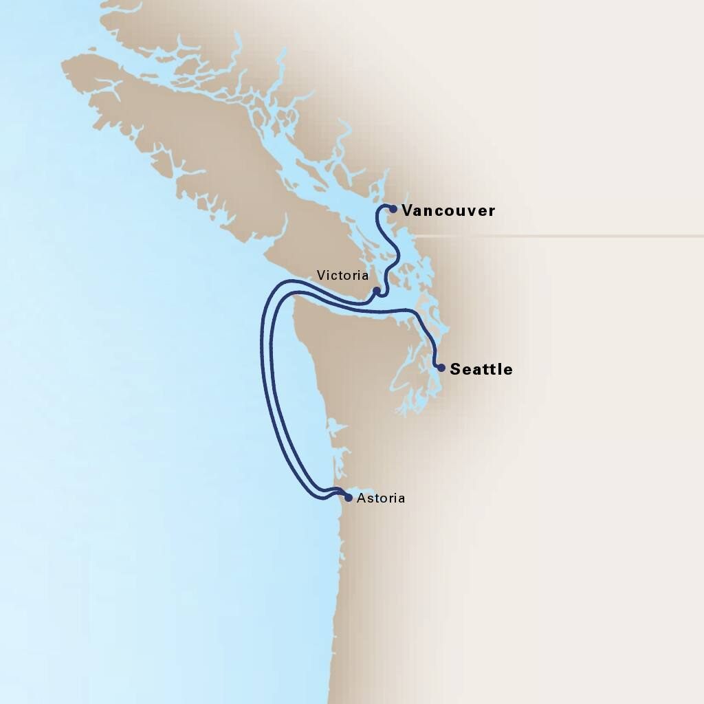 Map depicting the 4-Day Pacific Northwest itinerary leaving from Vancouver, B.C., CA and arriving in Seattle, Washington, US.