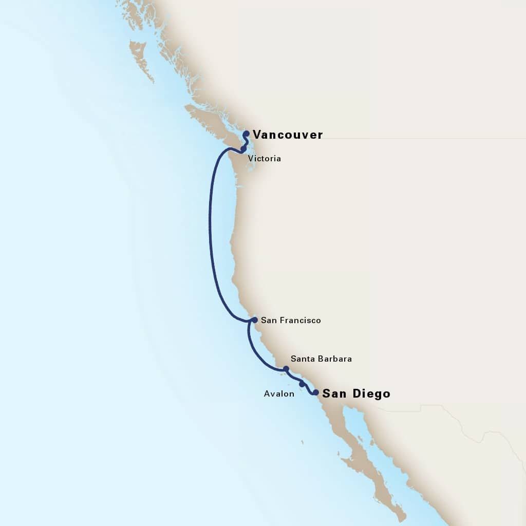 Map depicting the 7-day wine country & pacific northwest itinerary leaving from san diego, california, us and arriving in vancouver, b.c., ca.