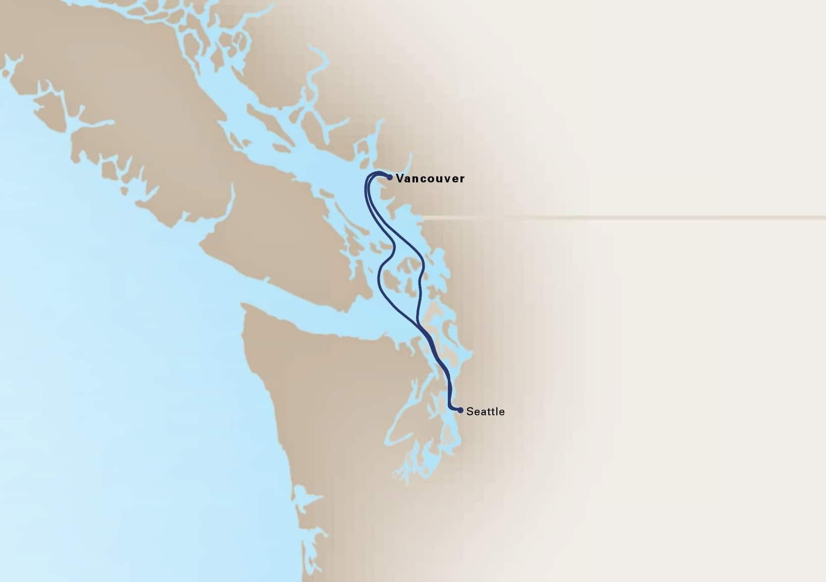 Map depicting the 2-day pacific northwest cruise itinerary leaving from vancouver, b.c., ca and arriving in vancouver, b.c., ca.