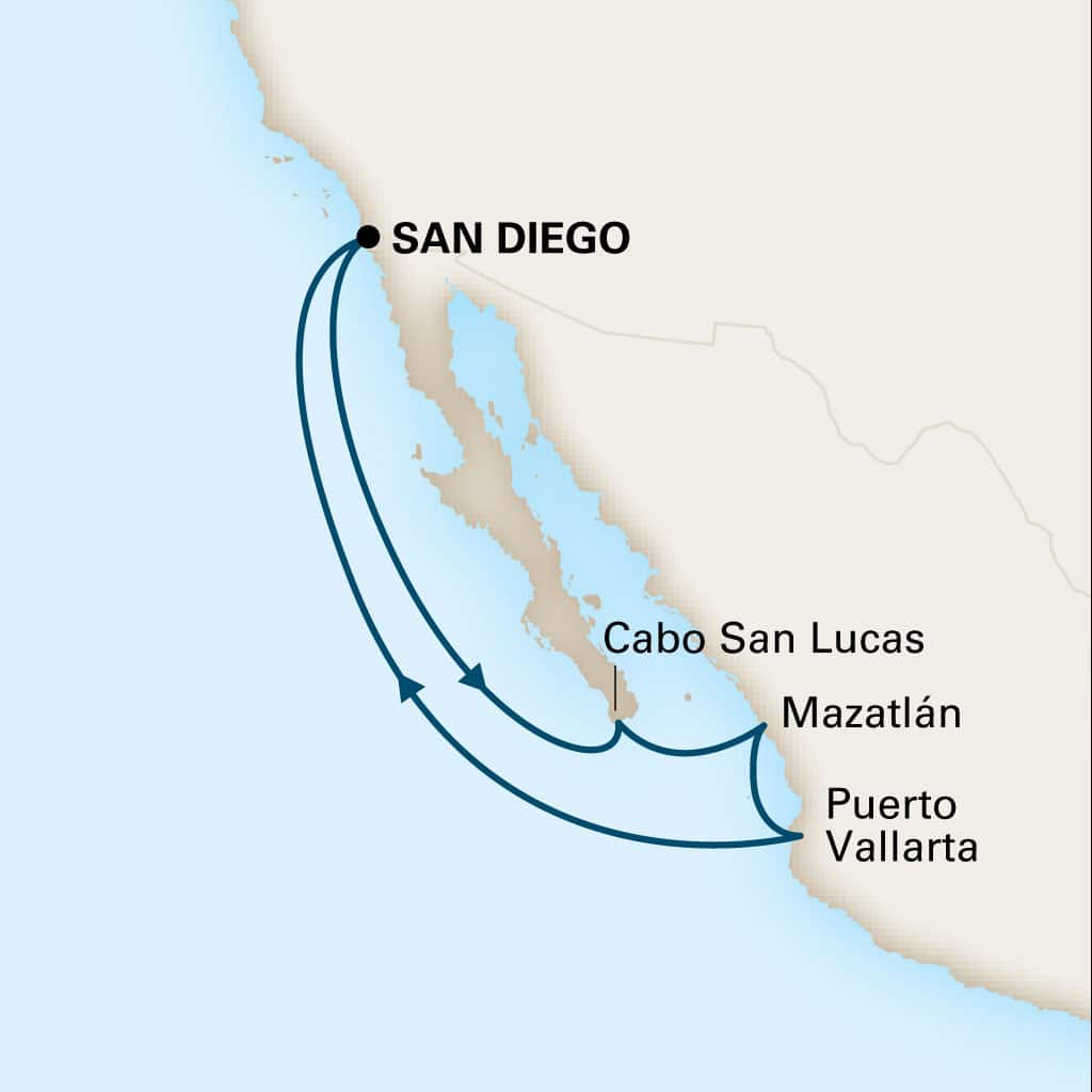 Map depicting the 7-day mexican riviera itinerary leaving from san diego, california, us and arriving in san diego, california, us.