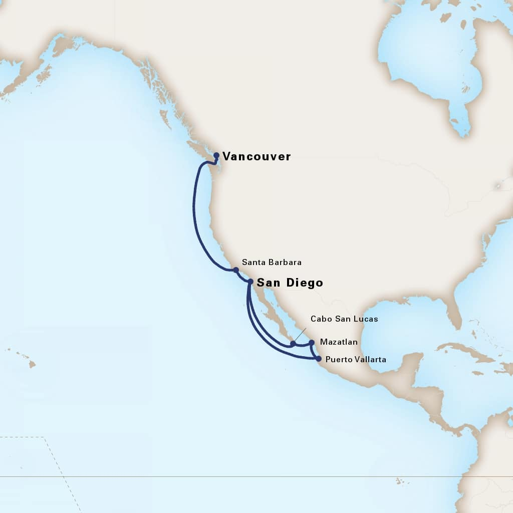 Map depicting the 11-Day Mexican Riviera itinerary leaving from Vancouver, B.C., CA and arriving in San Diego, California, US.