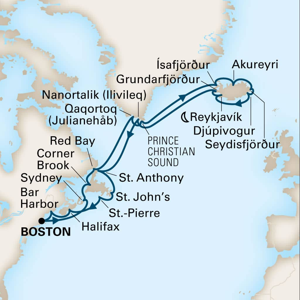 Map depicting the 24-day canada, new england & iceland itinerary leaving from boston, massachusetts, us and arriving in boston, massachusetts, us.