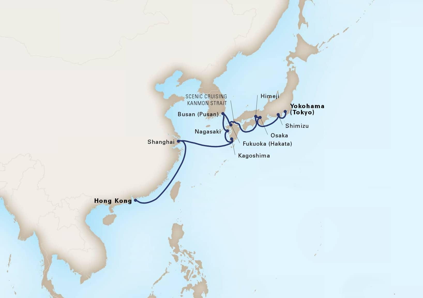 Map depicting the 14-day china & japan itinerary leaving from hong kong, china and arriving in yokohama (tokyo), japan.