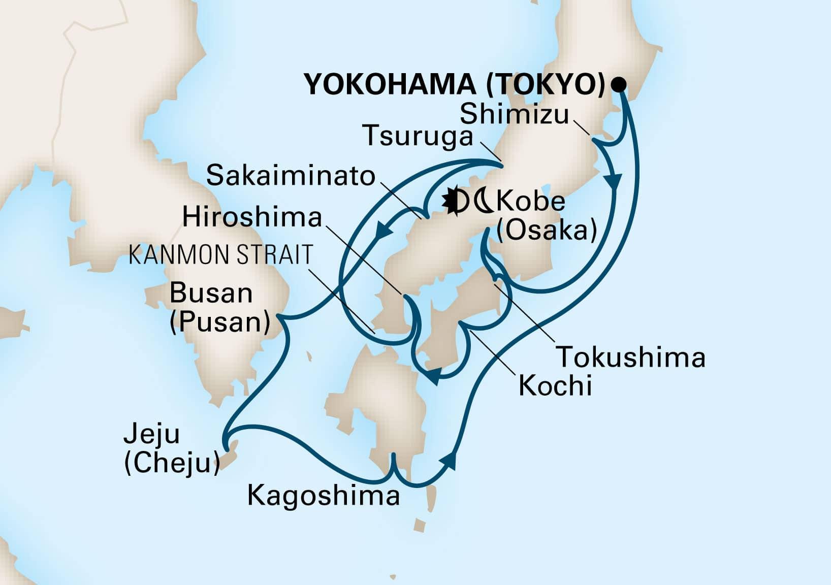 Map depicting the 14-day japan explorer itinerary leaving from yokohama (tokyo), japan and arriving in yokohama (tokyo), japan.